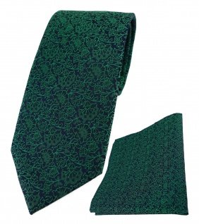 TigerTie Designer Krawatte + Einstecktuch in grün schwarz florales Muster