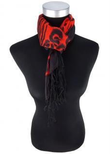 Designer Halstuch in rot schwarz gemustert mit langen Fransen - Größe 90 x 90 cm