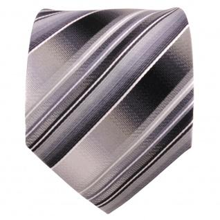 TigerTie Seidenkrawatte grau silber anthrazit hellgrau gestreift- Krawatte Seide - Vorschau 2
