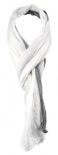 TigerTie - gecrashter Schal in weiss anthrazit grau gestreift - Gr. 180 x 50 cm