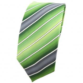 Schmale TigerTie Krawatte grün hellgrün grau creme gestreift - Binder Tie