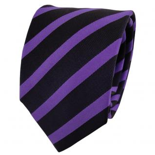 Designer Seidenkrawatte lila blau dunkelblau gestreift - Krawatte Seide Tie
