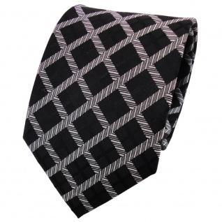 TigerTie Seidenkrawatte schwarz silber grau kariert - Krawatte Seide Tie
