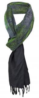 TigerTie Designer Schal grün anthrazit grau Paisley gemustert - Gr. 180 x 50 cm
