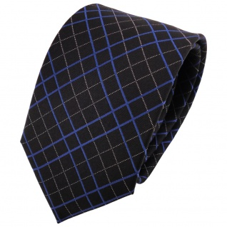 schöne Designer Seidenkrawatte schwarz silber blau kariert - Krawatte 100% Seide