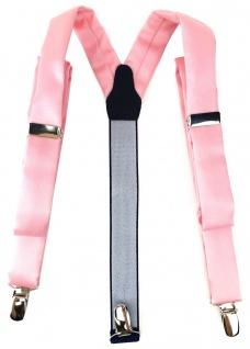 schmaler TigerTie Unisex Hosenträger mit 3 extra starken Clips - in rosa Uni
