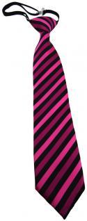 Security Sicherheits Krawatte magenta schwarz gestreift - vorgebunden Gummizug