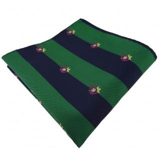 TigerTie Einstecktuch in grün laubgrün dunkelblau gestreift mit Wappen - Tuch