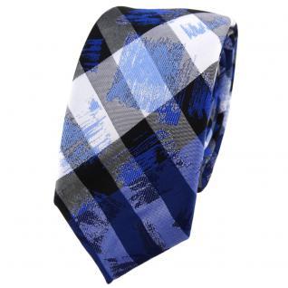 schmale TigerTie Krawatte in blau grau silber schwarz gestreift - Schlips Binder