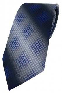 TigerTie Designer Krawatte in dunkelblau royal marine silber grau kariert