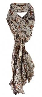Schal in braun beige dunkelbraun gemustert - Größe180 x 70 cm - 100% Viscose