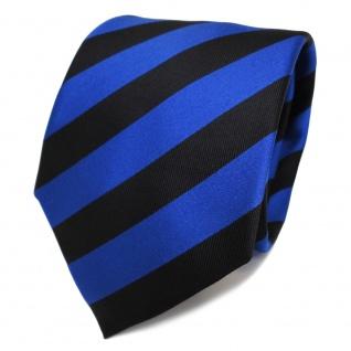 TigerTie Designer Seidenkrawatte blau marine schwarz gestreift