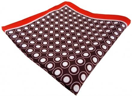 TigerTie Seideneinstecktuch in rot schwarz weiss gepunktet - Pochette 100% Seide