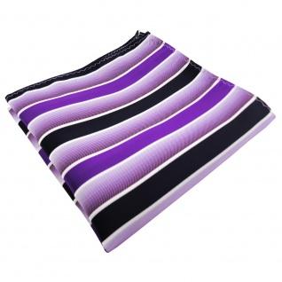 TigerTie Einstecktuch in lila violett dunkelblau weiß gestreift - Tuch Polyester