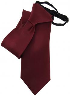 TigerTie Security Satin Seidenkrawatte in rot bordeaux weinrot uni mit Gummizug
