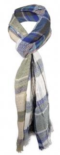 Schal in braun beige türkis blau kariert mit kleinen Fransen - Gr. 180 x 50 cm