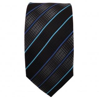 Schmale TigerTie Krawatte schwarz anthrazit türkis blau gestreift - Binder Tie - Vorschau 2