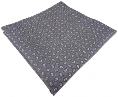TigerTie handrolliertes Seideneinstecktuch in grau silber Paisley gemustert
