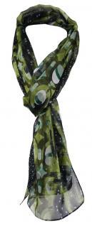 TigerTie Unisex Chiffon Schal in grün grau blau gemustert - Gr. 160 cm x 36 cm