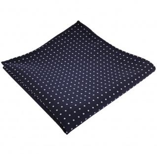 TigerTie Einstecktuch in marine dunkelblau silberweiß gepunktet - Tuch Polyester