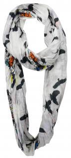Damen Loop Schal 2-in-1 mehrfarbig Blumenmuster u. Vogelmotive - Gr. 200 x 50 cm