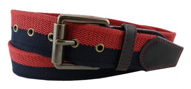 TigerTie - Stoffgürtel in rot schwarz zweifarbig - Bundweite 100 cm