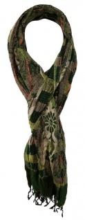 TigerTie Schal in grün grau schwarz braun orange beige gemustert mit Fransen