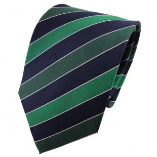 TigerTie Seidenkrawatte grün dunkelgrün blau silber gestreift - Krawatte Seide