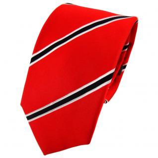Enrico Sarto Seidenkrawatte rot knallrot schwarz weiß gestreift - Krawatte Seide