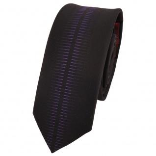 Schmale Designer Krawatte schwarz lila gemustert - Schlips Binder Tie