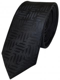 schmale TigerTie Designer Seidenkrawatte schwarz gemustert - Krawatte 100% Seide