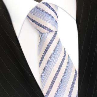 Mexx Seidenkrawatte in blau weiss grau gestreift - Tie Krawatte 100% Seide - Vorschau 3