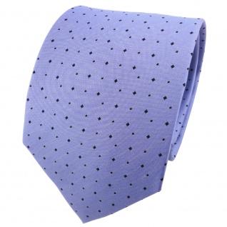 TigerTie Designer Seidenkrawatte blau himmelblau schwarz gepunktet