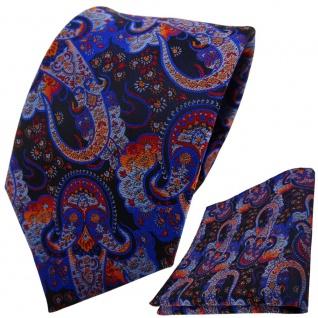TigerTie Designer Krawatte + Einstecktuch blau dunkelblau orange rot Paisley