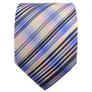 TigerTie Designer Krawatte blau gold anthrazit mehrfarbig gestreift - Binder Tie - Vorschau 2