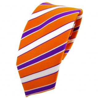 Schmale TigerTie Krawatte orange verkehrsorange lila weiß gestreift - Binder Tie