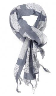 Halstuch in anthrazit grau Motiv Zylinder-Totenkopf gemustert mit Fransen