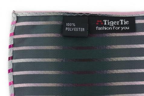 TigerTie Einstecktuch in rosa magenta pink weiss silbergrau schwarz gestreift - Vorschau 3