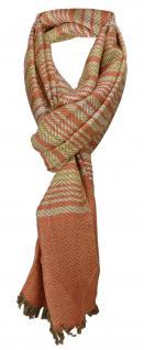 TigerTie Designer Schal blutorange grau silber gold gestreift - Gr. 180 x 50 cm
