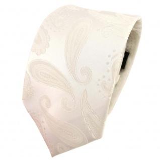 TigerTie Designer Krawatte creme beige cremeweiß Paisley - Schlips Binder Tie