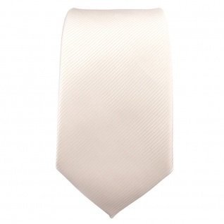 Schmale TigerTie Designer Krawatte weiß perlweiß creme cremeweiß Uni Rips - Tie - Vorschau 2