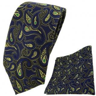 TigerTie Krawatte + Einstecktuch in marine gold grün schwarz Paisley