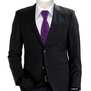 TigerTie Designer Krawatte in lila schwarz Paisley gemustert - Vorschau 5