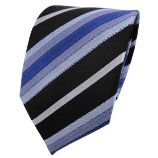 TigerTie Designer Seidenkrawatte blau hellblau royal schwarz gestreift