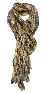 gecrashter Schal in braun beige türkis grau lila Paisley gemustert