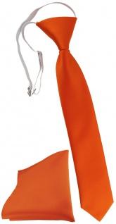TigerTie Kinderkrawatte + Einstecktuch in orange Uni - vorgebunden mit Gummizug