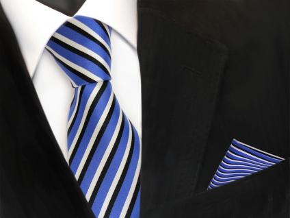 TigerTie Krawatte + Einstecktuch in blau ultramarin weiss schwarz gestreift