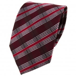 TigerTie Designer Krawatte in weinrot rot grau silber schwarz gestreift - Binder