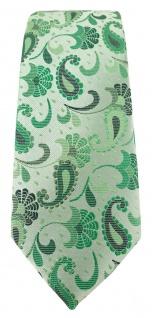 schmale TigerTie Designer Krawatte in grün grasgrün anthrazit Paisley gemustert - Vorschau 2
