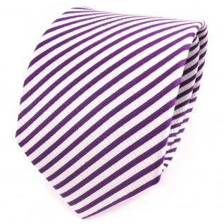TigerTie Designer Seidenkrawatte lila violett weiß gestreift - Krawatte Seide